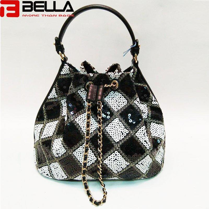 sequin women cross body bag small handbag with leather trimming bucket bagBE-180108