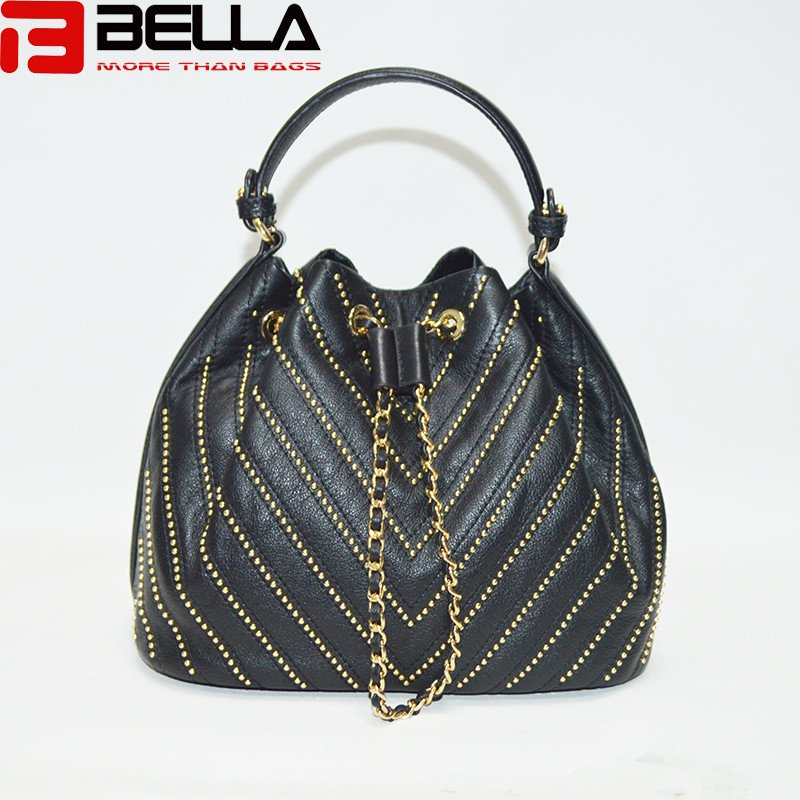 BELLA-High-quality Top Genuine Cow Leather Bag Cross Body Bag Bucket Bag