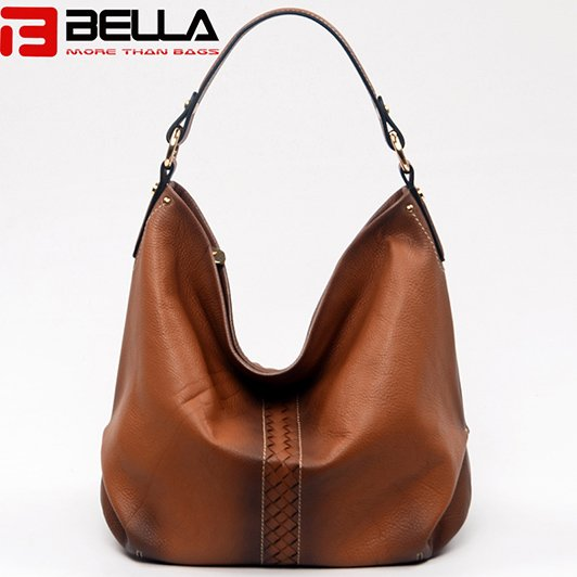BELLA-High-quality Genuine Cow Leather Camel Color Retro Leather Shoulder-6
