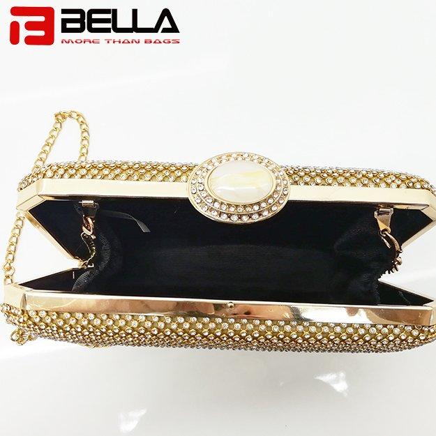 BELLA-Fashion Metal Clutch Bag Ladies Beading Bag For Wedding Party-3