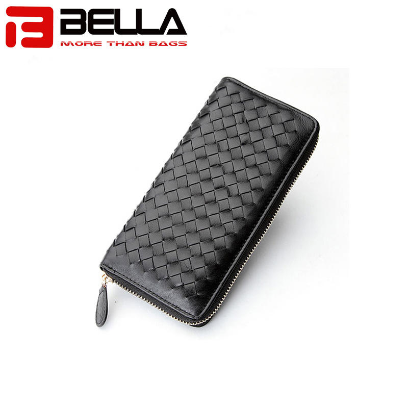 genuine leather ladies wallet women purse woven walletBW013