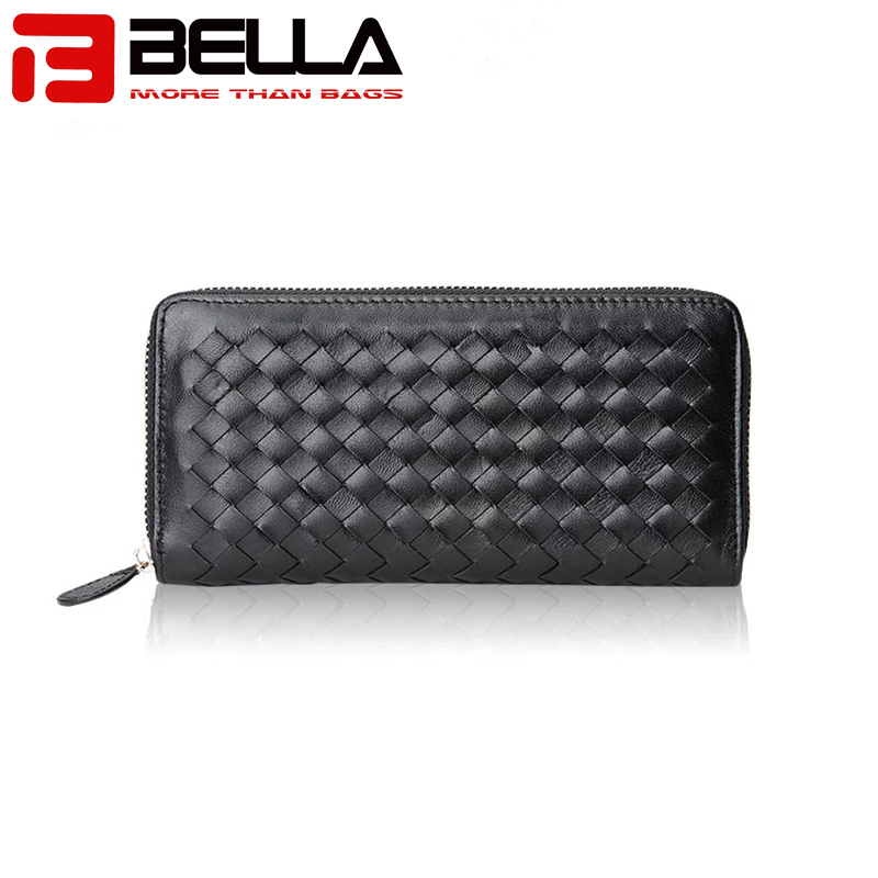 BELLA-High-quality Genuine Leather Ladies Wallet Women Purse Woven Wallet