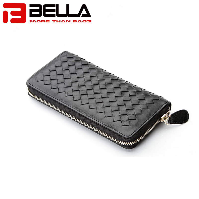 BELLA-High-quality Genuine Leather Ladies Wallet Women Purse Woven Wallet-3