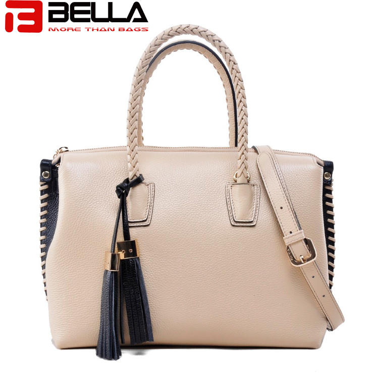 leather contrast color handbag for women ,tassel bag , braided handle bag BW0117