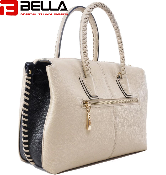 BELLA-Leather Contrast Color Handbag For Women ,tassel Bag , Braided-7