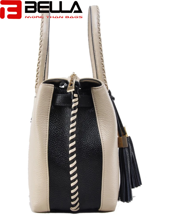 BELLA-Leather Contrast Color Handbag For Women ,tassel Bag , Braided-9