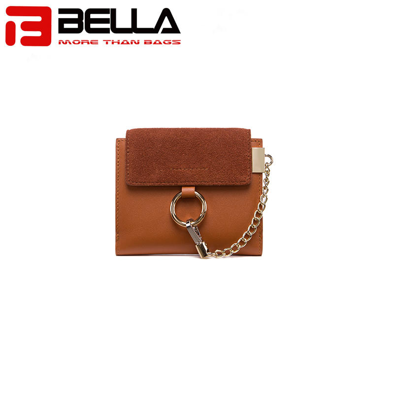 women short wallet , suede leather wallet with chain, designer inspired wallet OEM ,ODMBW041