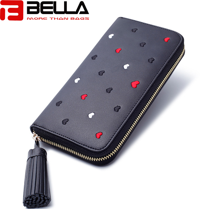 BELLA-Lady Wallet Long Wallet China Factory Oem Odm Interesting Embroidery Wallet Bw047-1