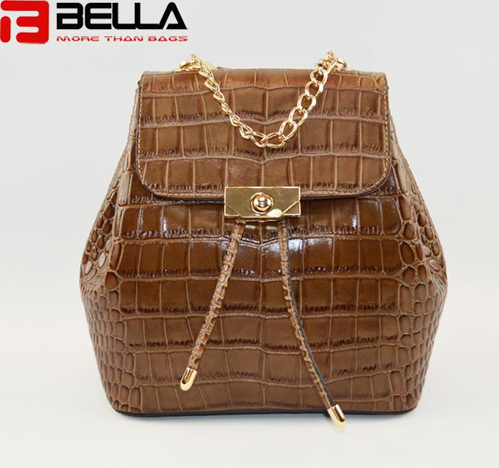 Fashiona crocodile pattern leather backpack