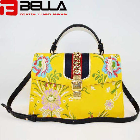 Yellow embroidery PU leather shoulder bags BE-4690