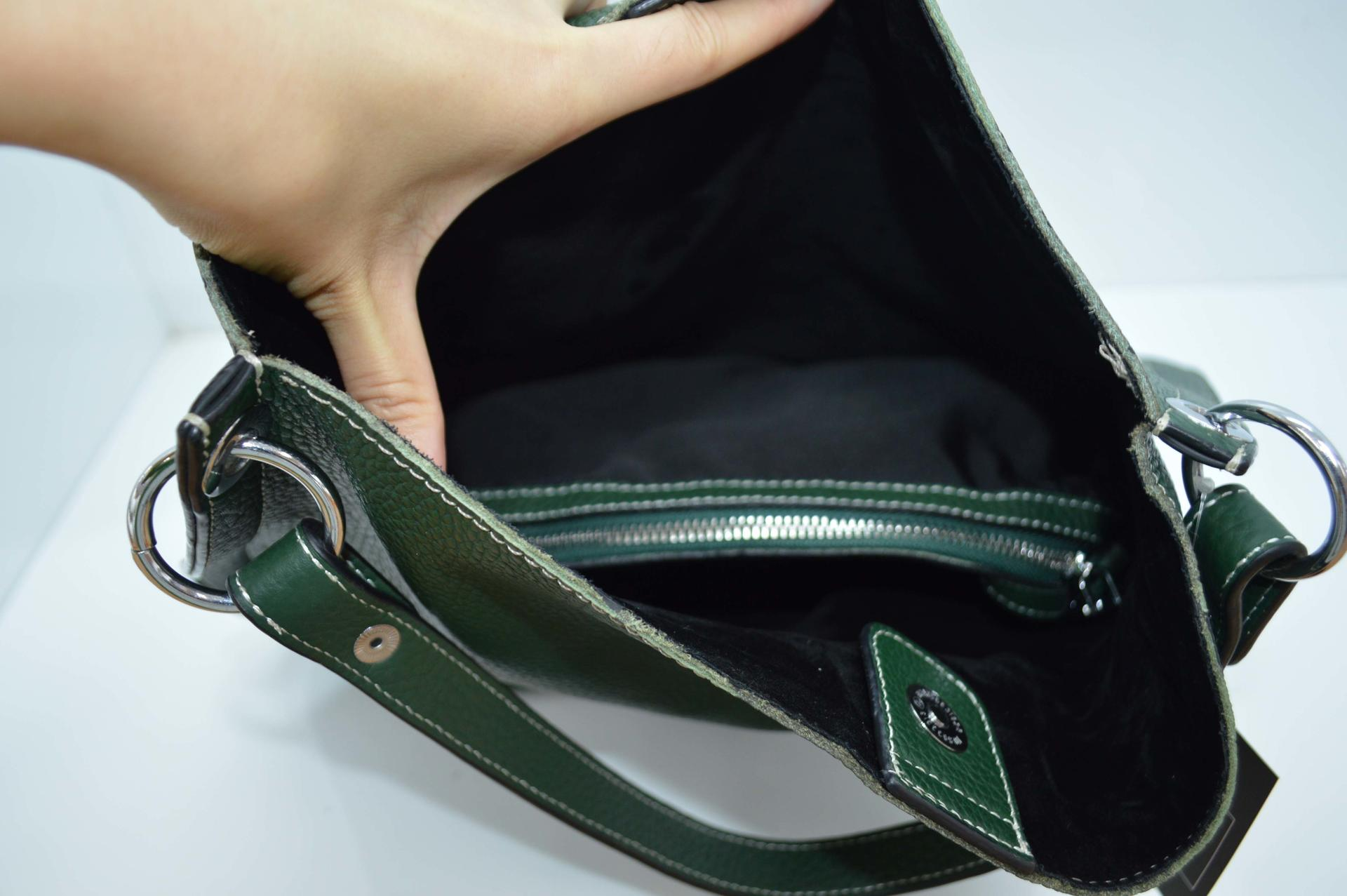 Deep Green Cow Leather Tote HY301