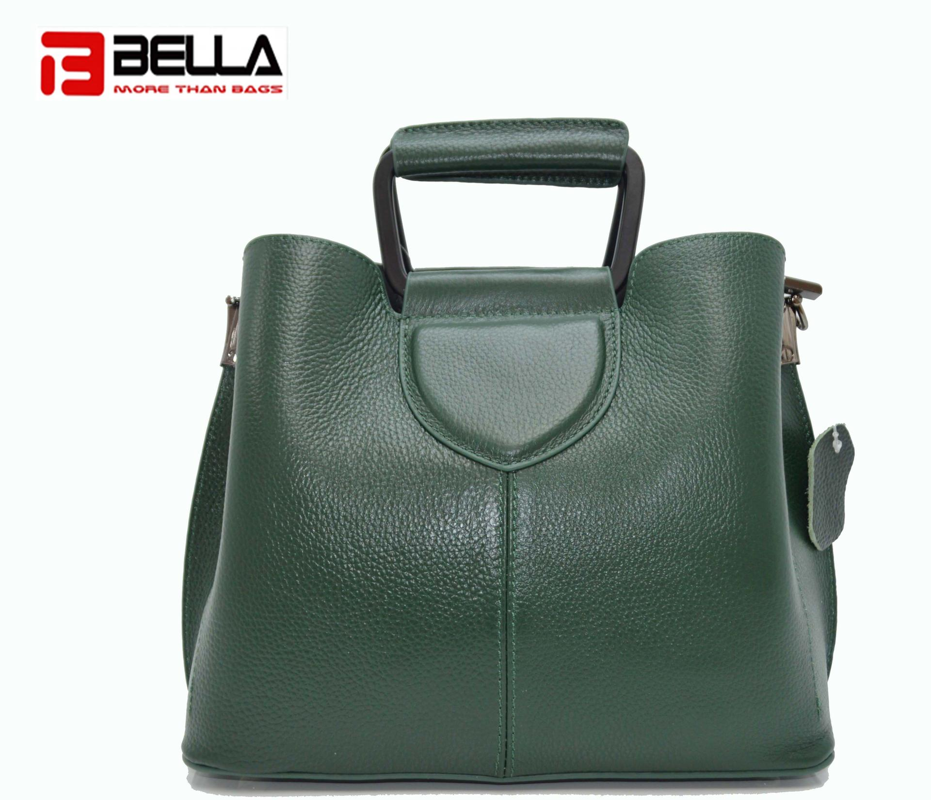 Deep Green Cow Leather Handbag with Special Handle HY8069