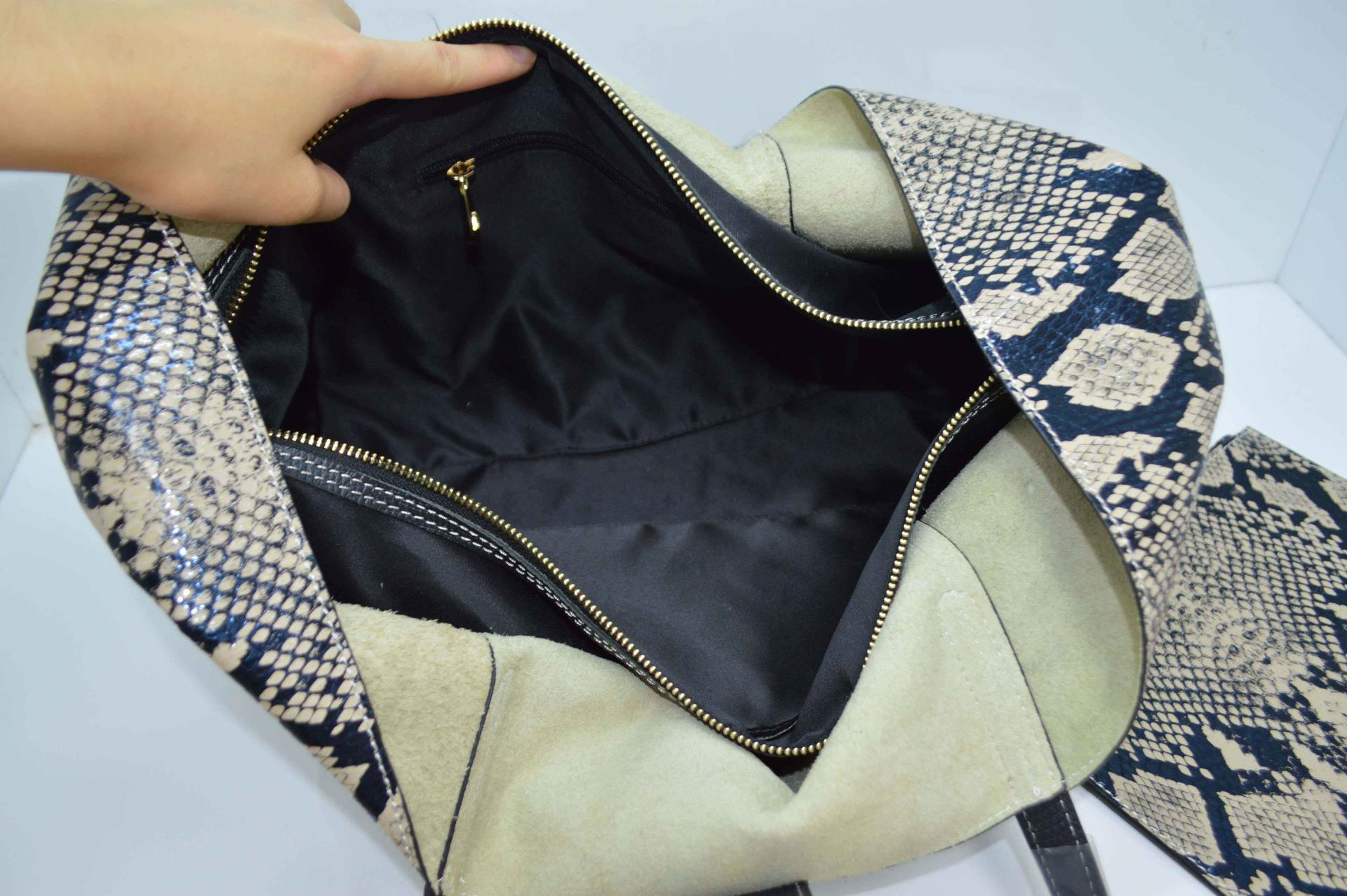 Leather Tote with Python Pattern DPS682