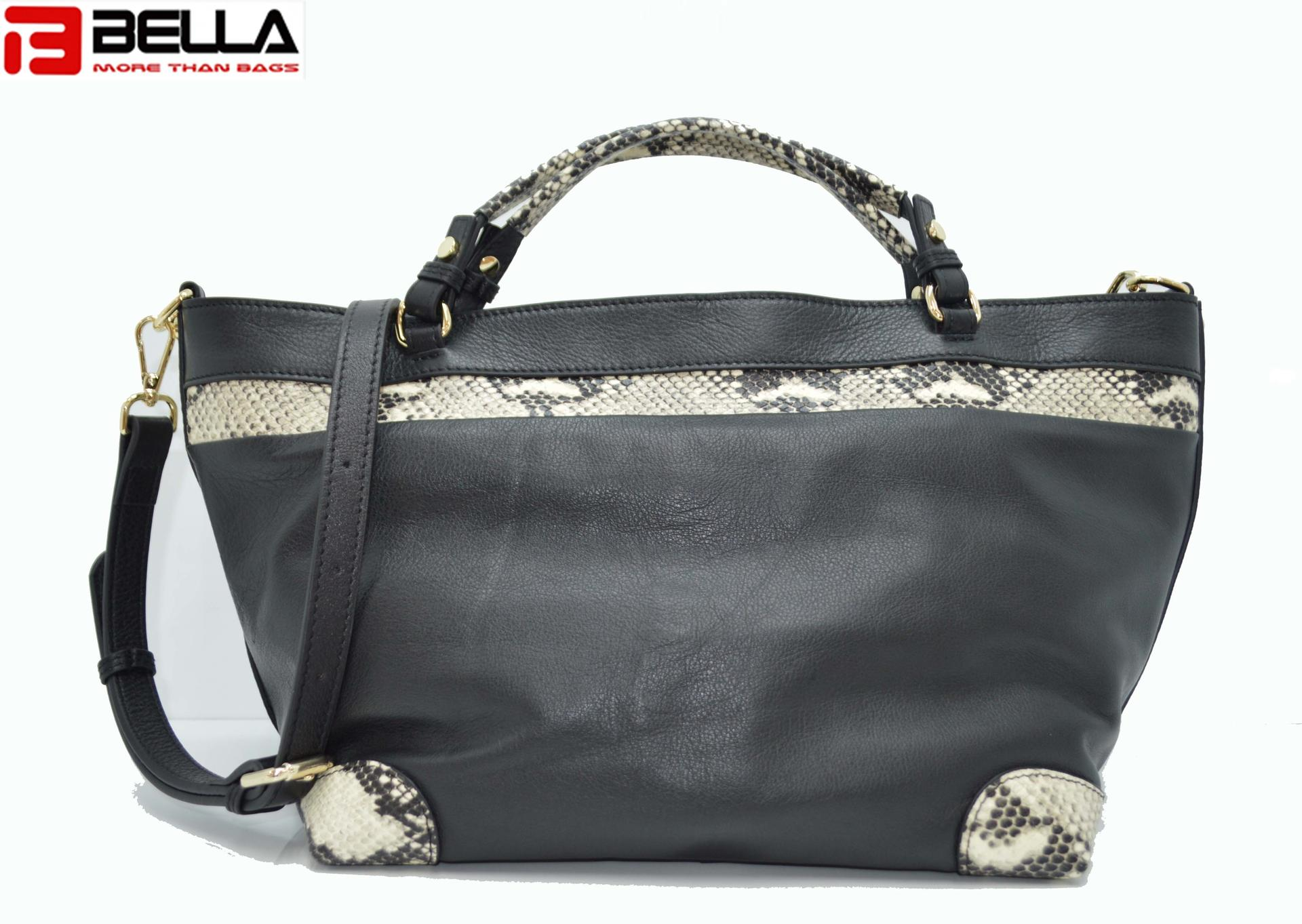 Black Leather handle bag with Snake skin Pattern DPS830