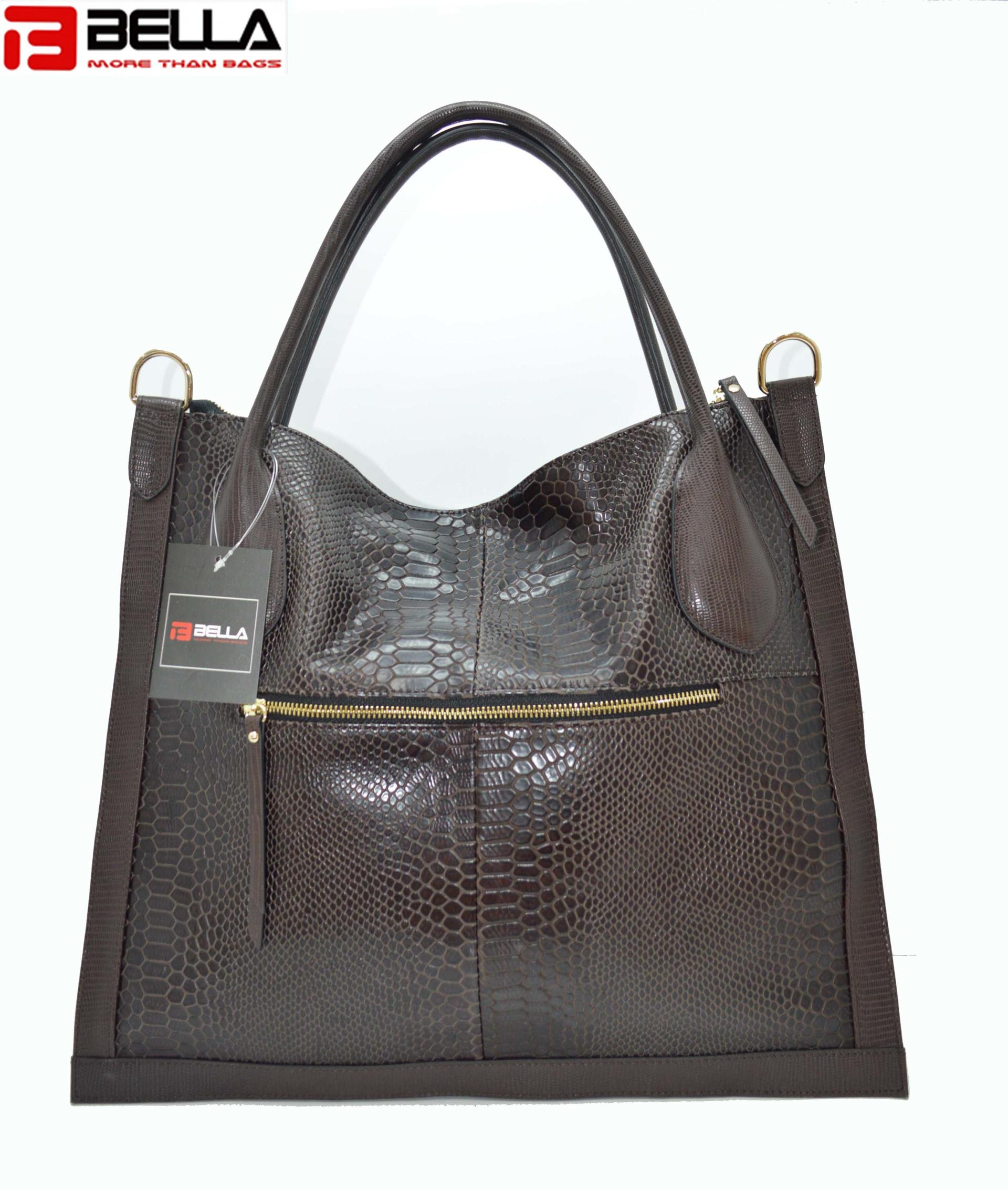 Flat Leather Bag with crocodile pattern DPS849