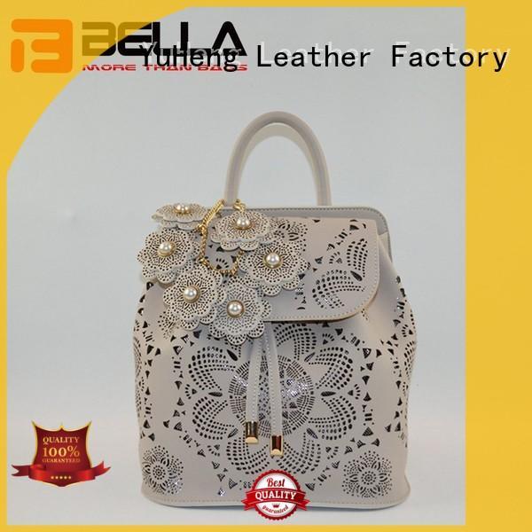 BELLA Brand purple quilt backpack shoulder bag apricot supplier